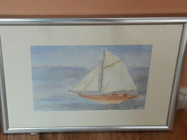 Aquarel schilderij, Handgeschilderd zeilboot; ca 35×45 cm; € 65