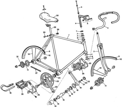 1977 track bike diagram