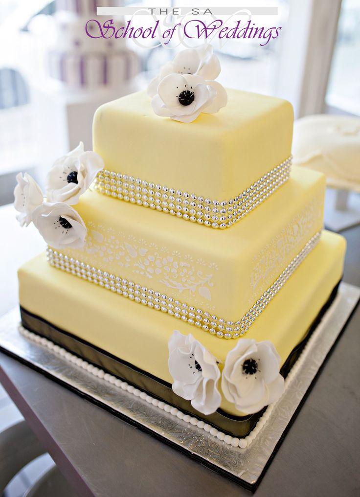 Yellow & black wedding cake www.saschoolofweddings.co.za