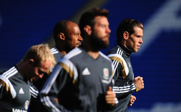 Wales player Gareth Bale (r) in action during Wales training ahead of their UEFA 2016 qualifier against Bosnia-Herzegovina  at Cardiff City Stadium on October 9, 2014 in Cardiff, Wales.