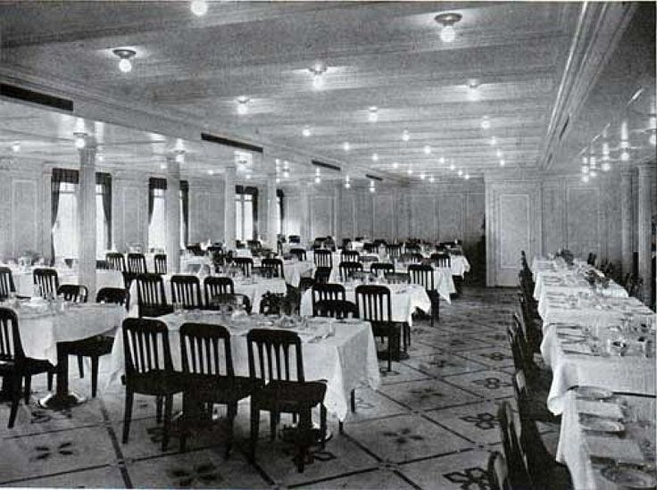 second class dining room titanic along the side of the