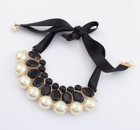 Noble Three Layer Pearl Crystal False Collar Necklaces Pendants for Girls