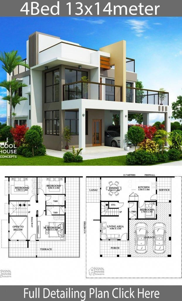 Home Design Plan 13x14m With 4 Bedrooms Home Design With Plan Homeinteriordesigns Modern House Plans House Front Design House Plans