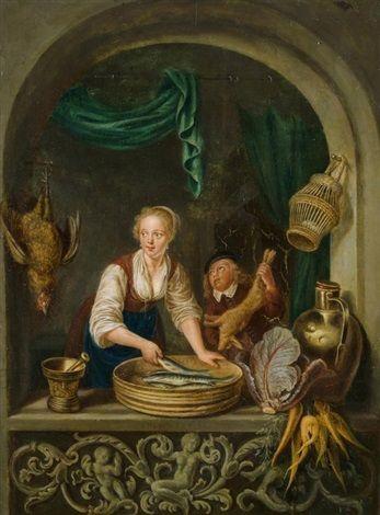 Cuisine à la fenêtre, 1652 by Gerrit Dou