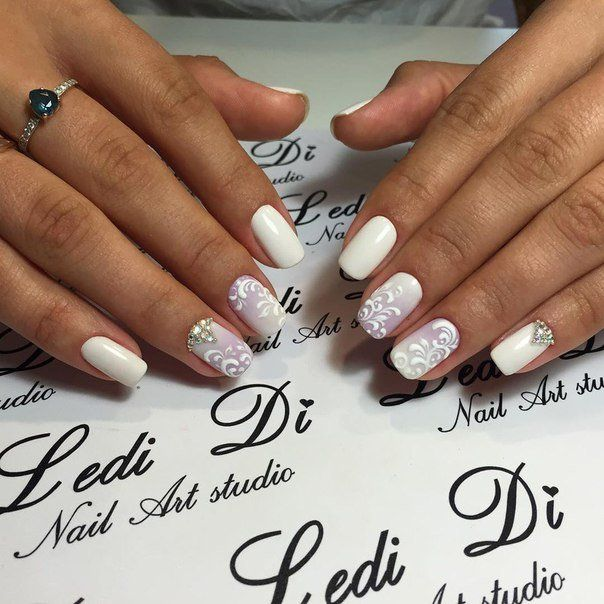Beautiful nails 2016, Bridal nails, Manicure 2016, Manicure by summer dress, Nail Design 2016, Nails with ornament, Nails with rhinestones, Pattern nails
