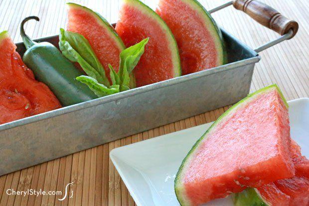 Sweet jalapeño basil tequila soaked watermelon wedges! - CherylStyle
