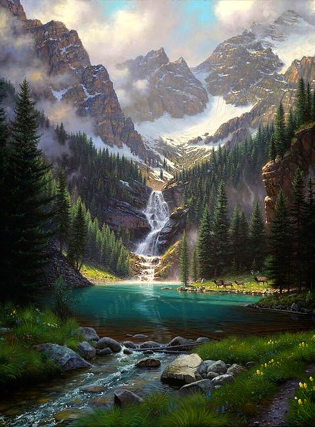 See This Picture I M Happy Fantasy Landscape Waterfall Landscape Paintings