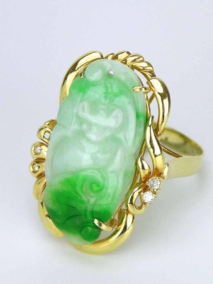 Carved White Jade Ring