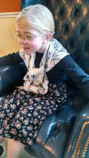 Old lady costume for kids. We had so much fun with this! Baby powder and hairspray for the hair, eyeliner wrinkles, and thrift store glasses.