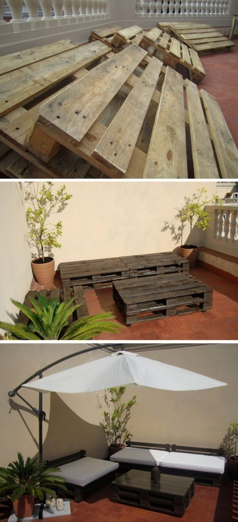 Way better than the $3,000 patio set from Costco...Pallet furniture!@Angela Gray Gray Gray Gray Gray Walters