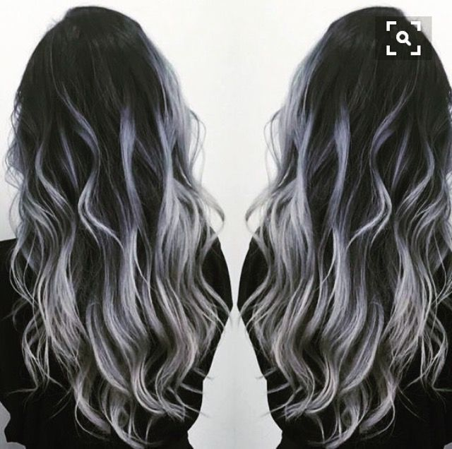 Black to gray silver balayage