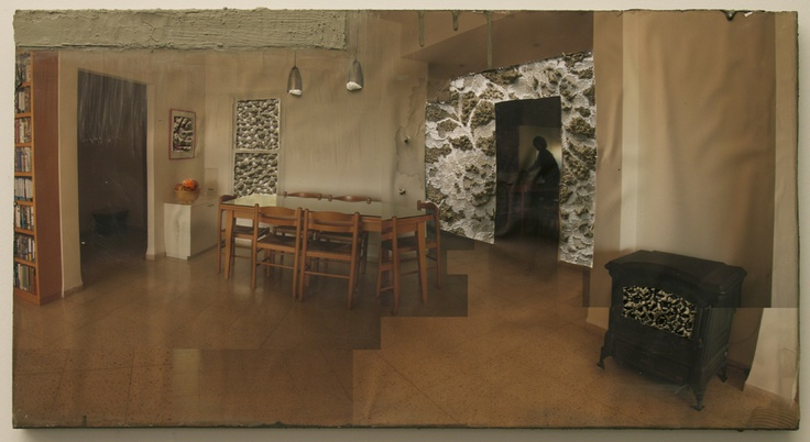 Naomi Safran-Hon, Home Invasion Ruti, 2010, 71 x 38 cm, ink jet print, kant en cement op canvas