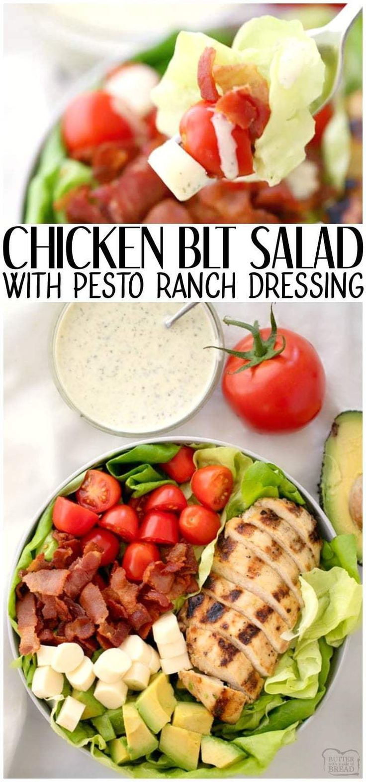 Gegrillter Hähnchen-BLT-Salat ist ein einfaches Sommersalatrezept, das mit gegrilltem Mar …