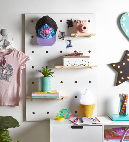 6 Ideas On How To Display Your Home Accessories: Organise Your Kids Room Using The Kmart Pegboard For A