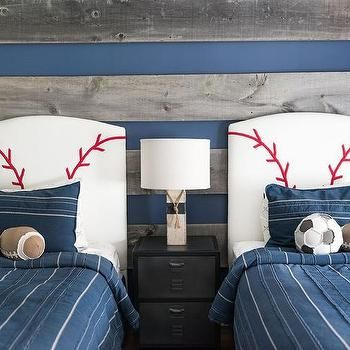 Blue and Gray Boys Bedroom with Baseball Headboards                                                                                                                                                                                 More