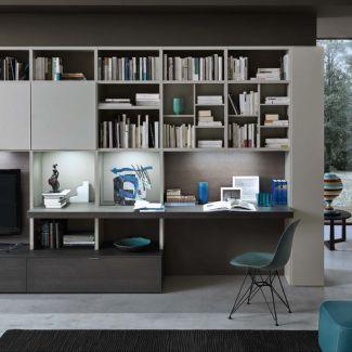 La Libreria Attrezzata Modo con ripiano sporgente adibito a zona studio o piano di lavoro - Barba Arredamenti Vico Equense e Castellammare.