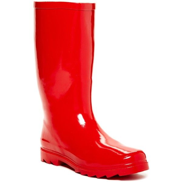 West Blvd Shoes Mid Calf Rain Boot (28 BAM) ❤ liked on Polyvore featuring shoes, boots, mid-calf boots, red, red boots, round toe boots, wellington boots, chunky heel boots and red rubber boots