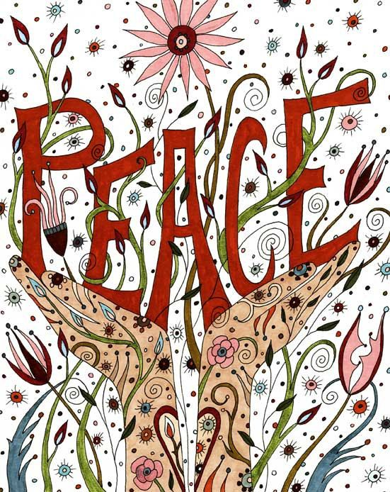 Peace Art Print Affirmation Positive Peace by ValerieLorimer, $30.00
