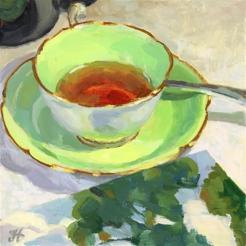 """adore this shade of green.""""Tea With A New Friend""""  - © Joanne Hopper"""