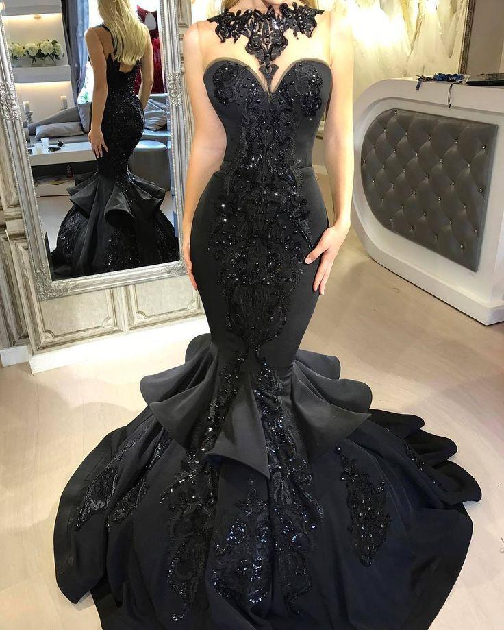 Black embellished mermaid gown