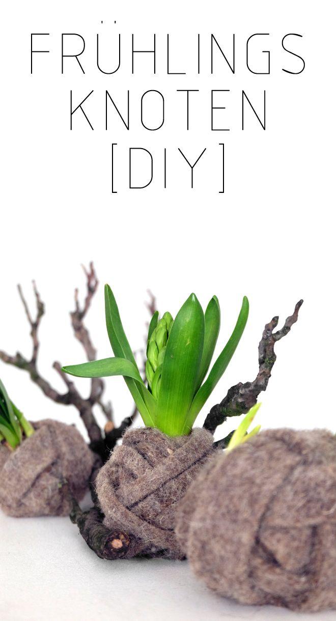 Frühlingsknoten [DIY] Anleitung bei Minza will Sommer I Easter, Ostern, Osterdeko, Frühlingsdeko, Blumen, Wolle statt Übertopf