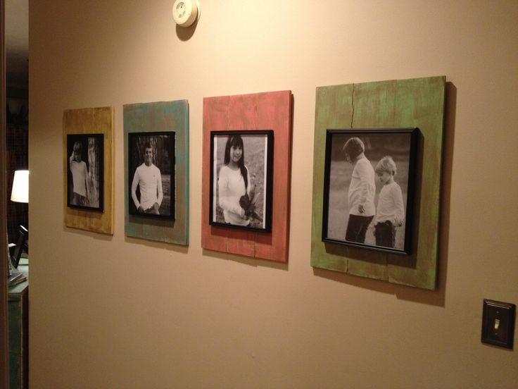 Wood from Lowes and frames from Dollar General! Great cheap way to frame pictures. by wanda