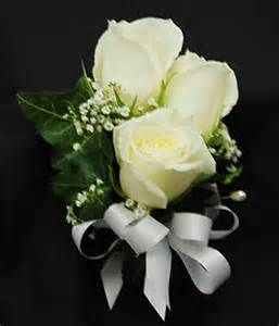 White rose & baby's breath corsage for the Mother of the Bride & the Mother of the Groom