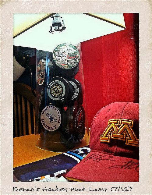 Hockey Puck Lamp.