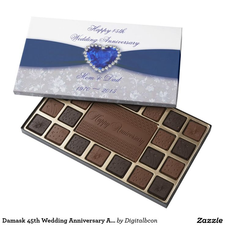 Damask 45th Wedding Anniversary Assorted Chocolate 75