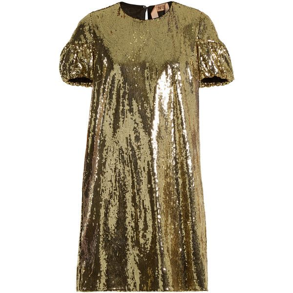 No. 21 Puff-sleeved sequin-embellished mini dress ($985) ❤ liked on Polyvore featuring dresses, gold, sequin dress, loose fitting dresses, puff shoulder dress, shimmer dress and loose dress