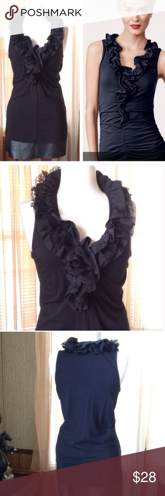 Cani black ruffle top In like new condition. Probably worn just twice.   .                            c CAbi Tops Blouses