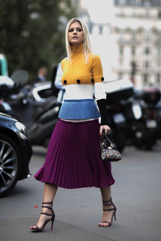 INSPIRATION: Colour-clash a purple pleated midi with a colour-block knit sweater