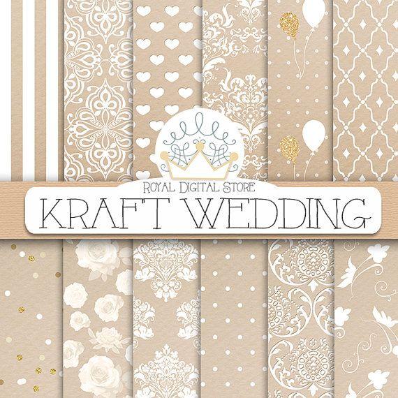 Kraft digital paper: KRAFT WEDDING with kraft by royaldigitalstore