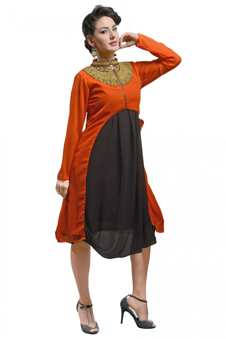 Georgette Designer Kurti in Orange Colour.This lovely kurti strives in the color orange and fabricated in georgette. Its gorgeous front design makes it extraordinary and a total modern party outfit. E...
