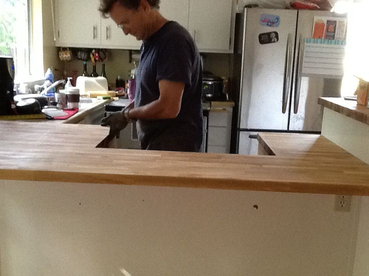 dad finishing my countertop butcher block is awesome
