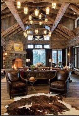 Soaring great room in log home in Bozeman, Montana