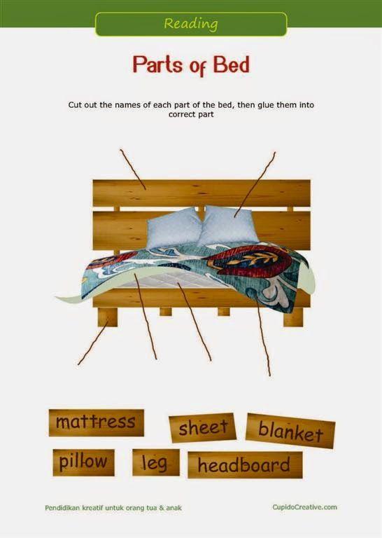 belajar bahasa inggris, membaca untuk anak sd kelas 1, bagian-bagian tempat tidur