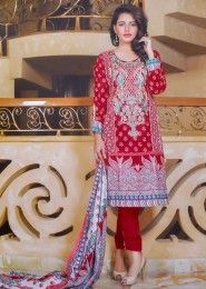 Daily Wear Cambric  Red Printed Churidar Suit
