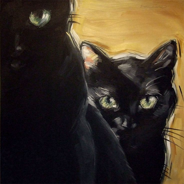 Two Black Cats Original Oil Painting By Diane Irvine