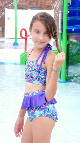66b9d962e8abd Mermaid, two piece swimsuit. Modest, comfortable, and scaly! Baby, child,  and tween sizes available. Handmade in the USA.