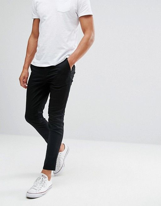 c619a504fbd7c0 DESIGN super skinny cropped chinos in black in 2019 | Trousers | Cropped  chinos, Mens sweatpants, Skinny chinos