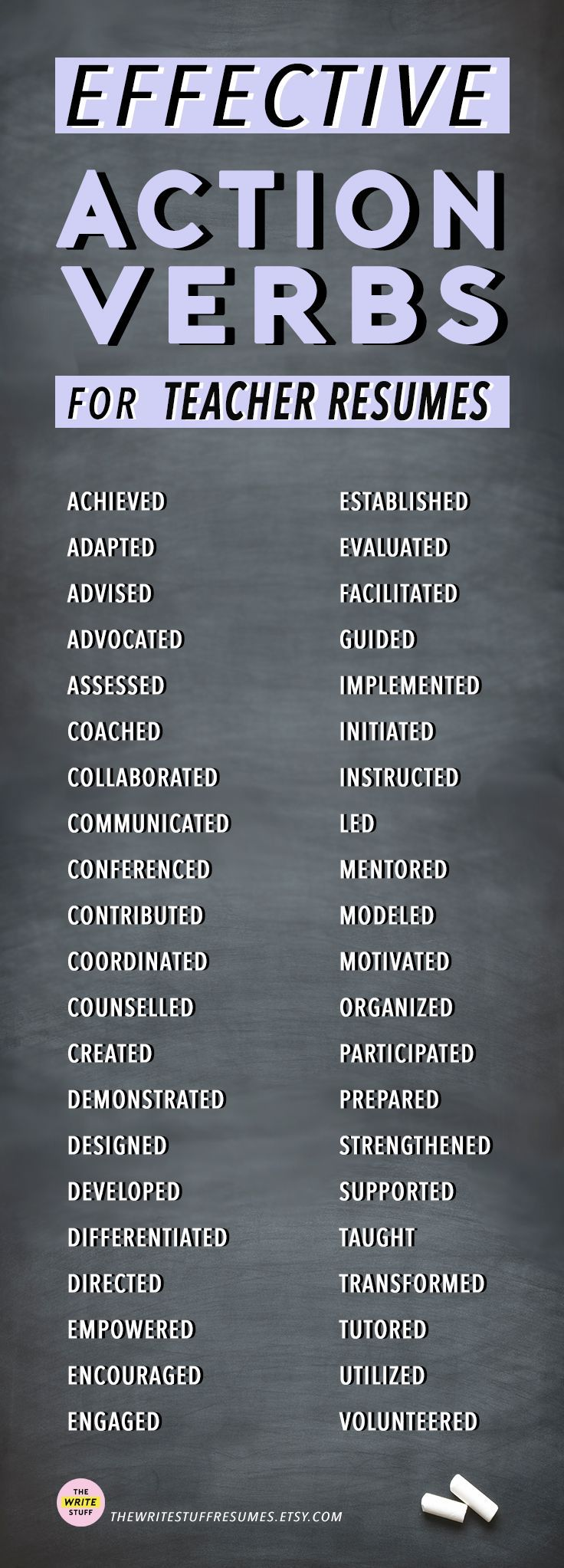 Resume Action Verbs For Teachers