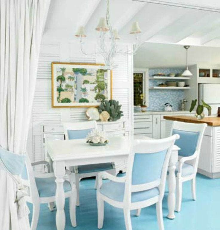 Beach Style Dining Room With Blue Floor Colors And White Dining Table Paired Chairs Under Vintage Chandelier Useful Tips For Dining Room Decorating Check more at http://www.wearefound.com/useful-tips-for-dining-room-decorating/
