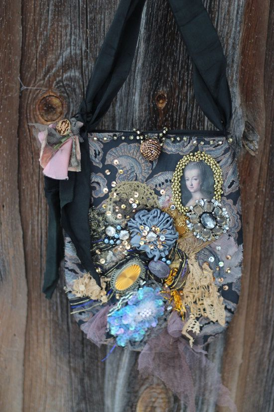 1770-romantische bestickte Handtasche, Jahrgang Borten, tragbare Kunst