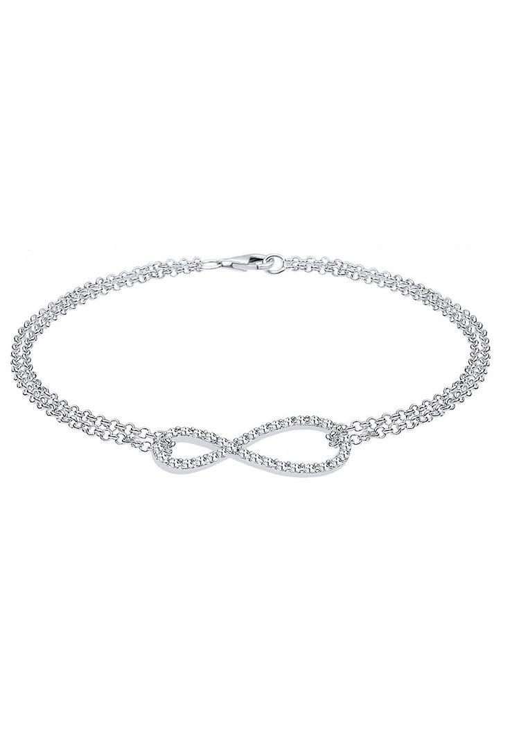 Dieses trendige Infinity-Armband aus 925er Sterling Silber ist ein stylisch glamouröser Armschmuck für Frauen, die Design und Fashion lieben. Das Unendlichkeitszeichen ist filigran gearbeitet und mit funkelnden Kristallen von Swarovski besetzt. Ergänze dein Schmuck um ein modisches Highlight!  Produktdetails: Verschluss: Karabinerhaken, Steinfassung: Pavéfassung, Gesamtanzahl Steine: 34, Steins...