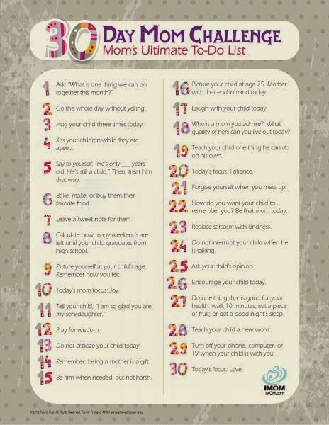 PLAIN JANE: Mom Challenge. Seriously such a great way to be a better mom with a few simple steps.