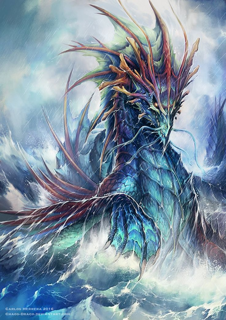 Ancient sea Dragon for Neridian by Chaos-Draco Featured on Cyrail: Inspiring artworks that make your day better