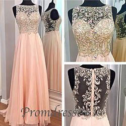 2015 Gorgeous pink chiffon long prom dress,gown