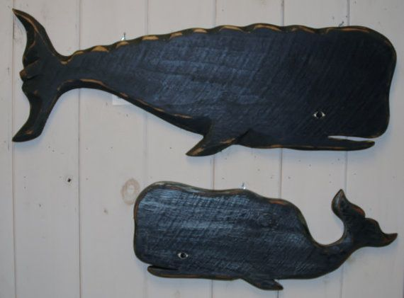 Handcrafted and Painted Antiqued Wooden Whale by RobertPorcello, $59.99