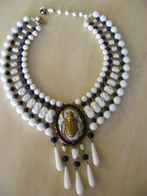 Fabulous Vintage Miriam Haskell Egyptian Revival Scarab Necklace